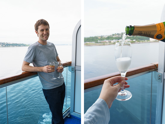 Champagne Toast on our way to Alaska