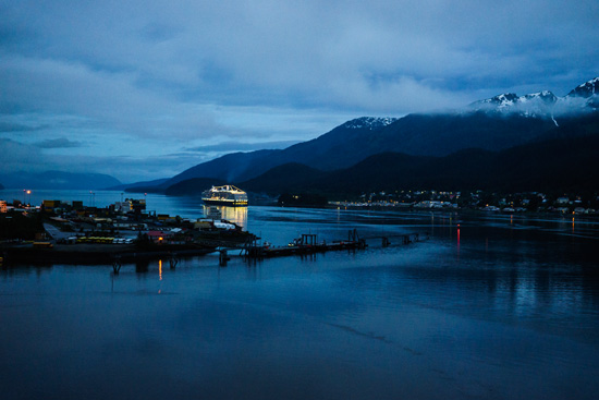 Nighttime sailing out of Juneau, Alaska