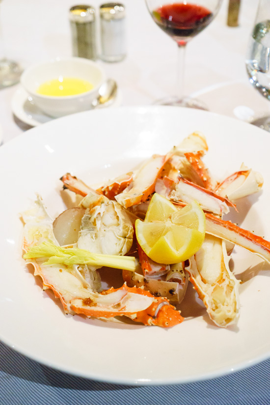 Steamed King Crab Legs at Crown Grill steakhouse aboard the Ruby Princess