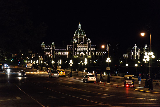 Parliament Building lit up at night, Victoria, British Columbia