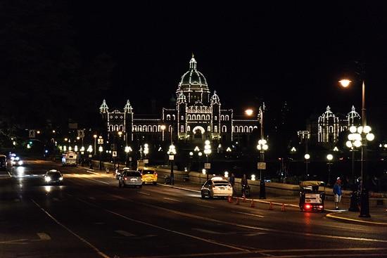 Parliament Building lit up at night, Victoria, British Columbia