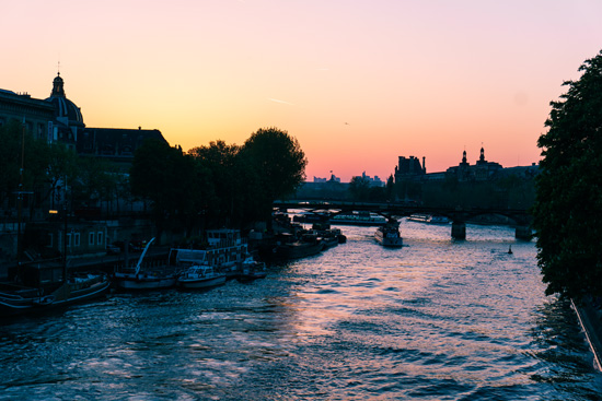 Sunset on the Seine, Paris France