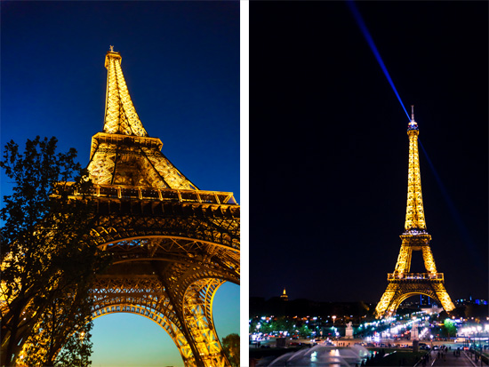 Tour de Eiffel lit up at night
