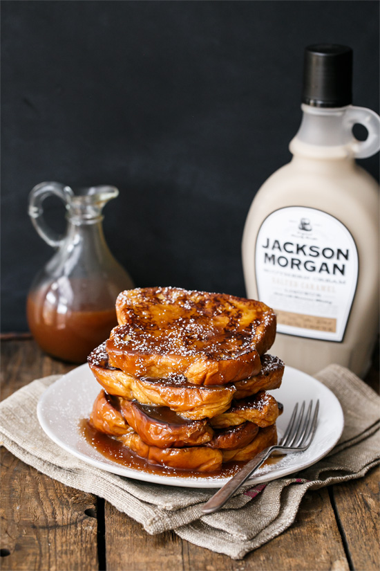 Boozy Salted Caramel French Toast made with Jackson Morgan Southern Cream Liqueur