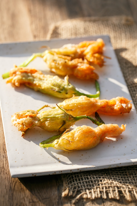 Goat Cheese-Stuffed and Beer-Battered Fried Zucchini Blossoms