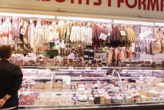 Cured meat galore at La Boqueria, Barcelona Spain