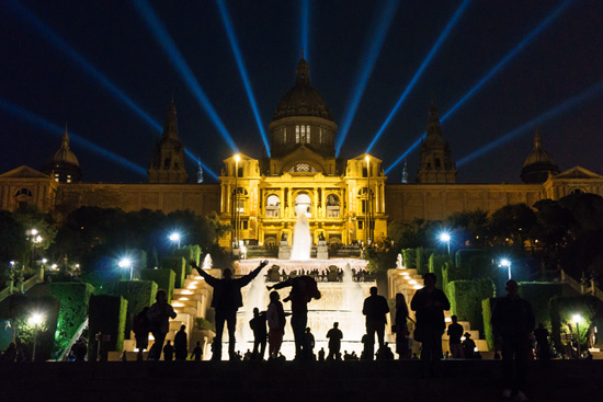 view of Museu Nacional d'Art de Catalunya from the Magic Fountain (Font Màgica de Montjuïc), Barcelona Spain