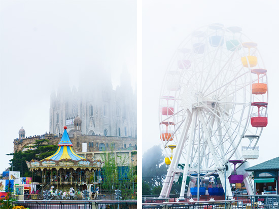 Tibidabo amusement park and Sagrat Cor (Sacred Heart) cathedral, Barcelona Spain