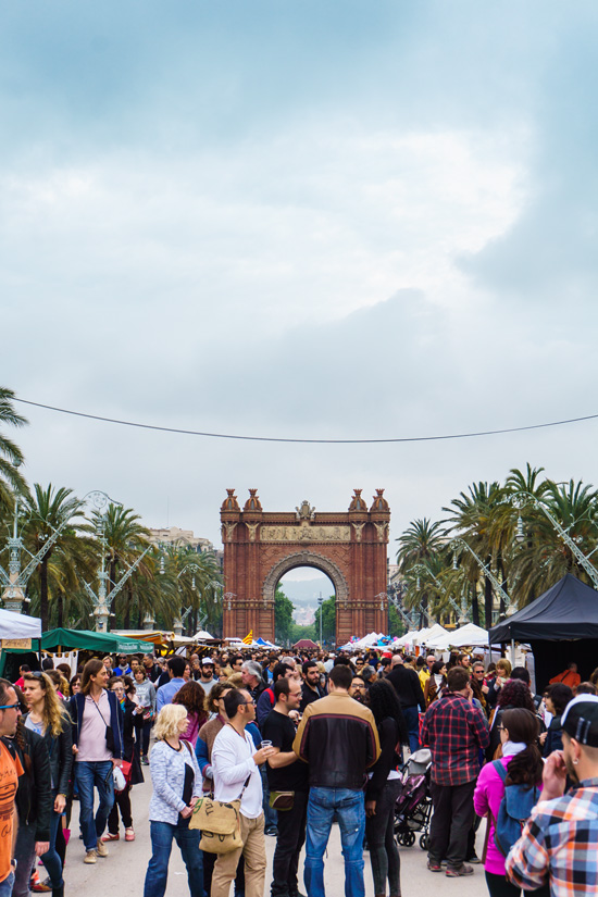 Street festival in front of the Arc de Triomf, Barcelona Spain