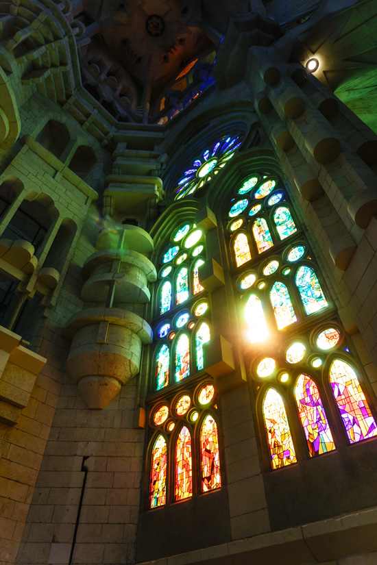 Amazing stained glass within the Sagrada Família church, Barcelona, Spain