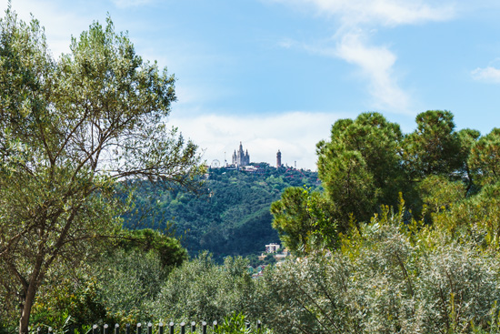 Looking up at Tibidabo mountain, Barcelona Spain