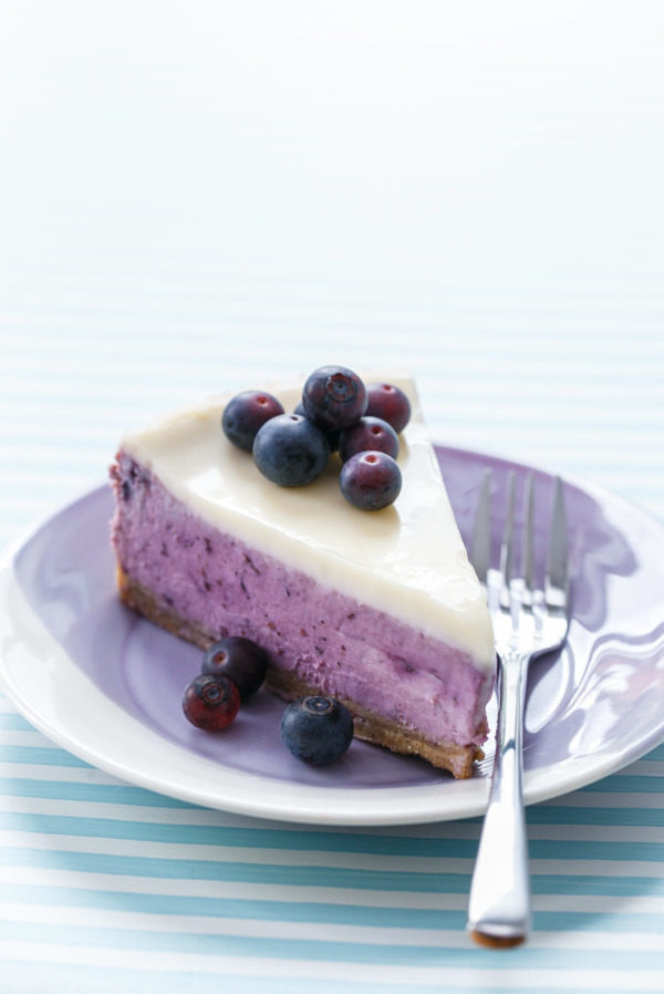 Roasted Blueberry Crème Fraîche Cheesecake Recipe