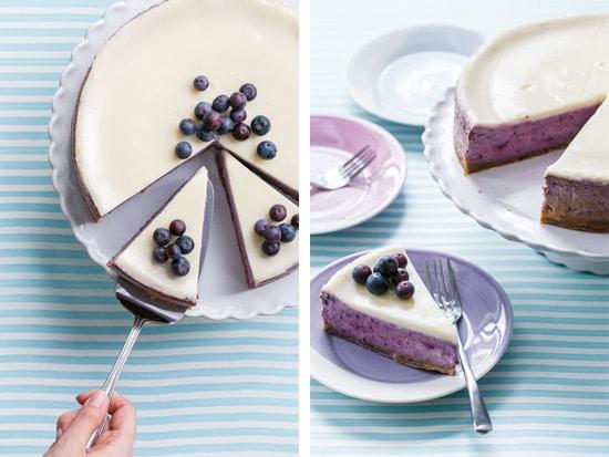 Roasted Blueberry Crème Fraîche Cheesecake