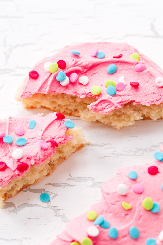 Pink Frosted Sugar Cookies with Confetti Sprinkles