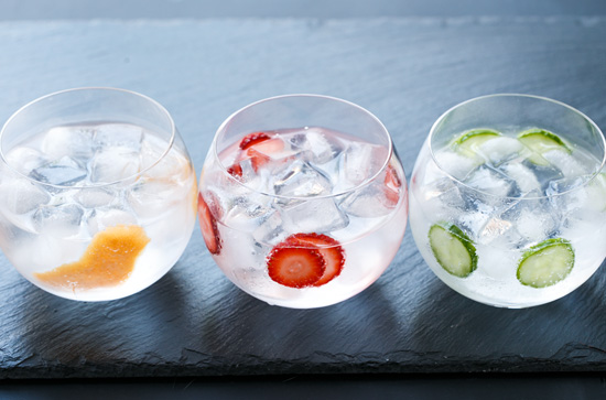 Gin & Tonic Cocktail: Flavored 3 Ways with Grapefruit, Strawberry, and Cucumber