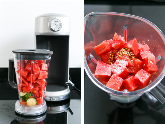 Tomato & Watermelon Gazpacho made with the KitchenAid® Torrent Blender