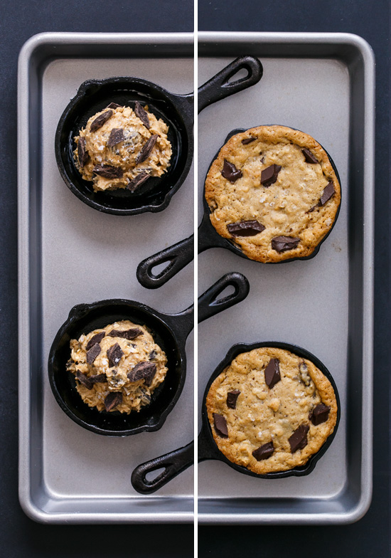 Before and After: Mini Oatmeal Chocolate Chunk Skillet Cookies