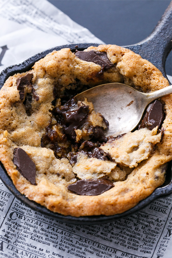 Mini Oatmeal Chocolate Chunk Skillet Cookies best enjoyed warm right out of the oven