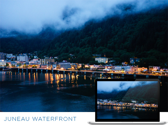 FREE Alaska Wallpaper Download: Juneau Waterfront at Night
