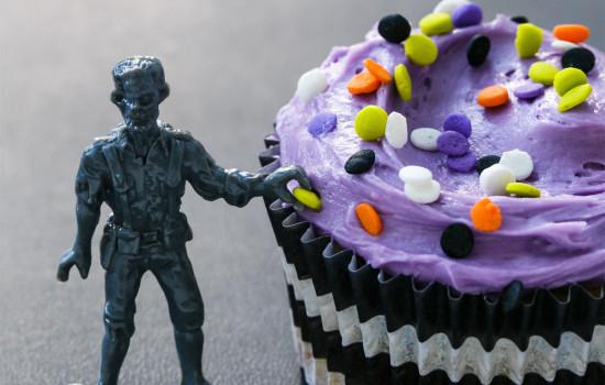 Halloween Zombie Funfetti Cupcakes