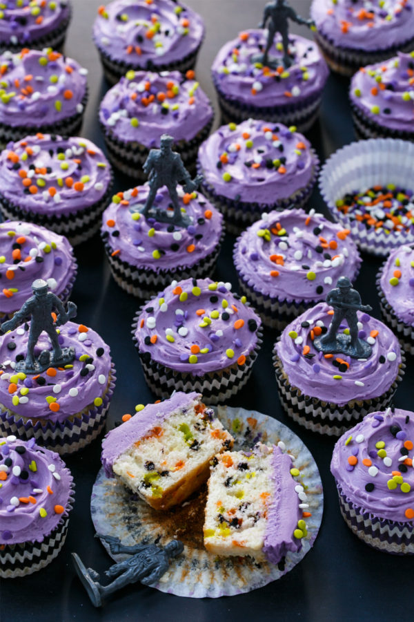 Halloween-themed Confetti Sprinkle Cupcakes with Zombie Cupcake Toppers