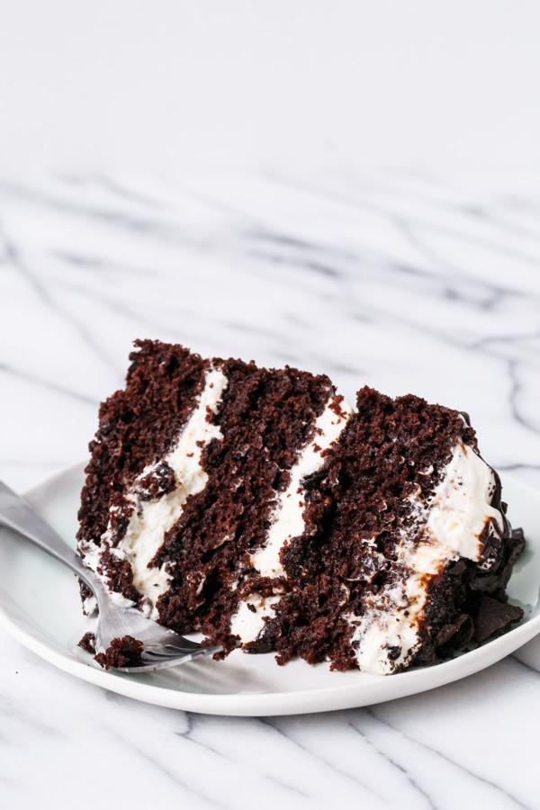 Homemade Chocolate Layer Cake with Bourbon Whipped Cream and Fudge Sauce