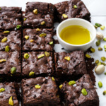 Olive Oil & Pistachio Brownies with Cacao Nibs and Sea Salt