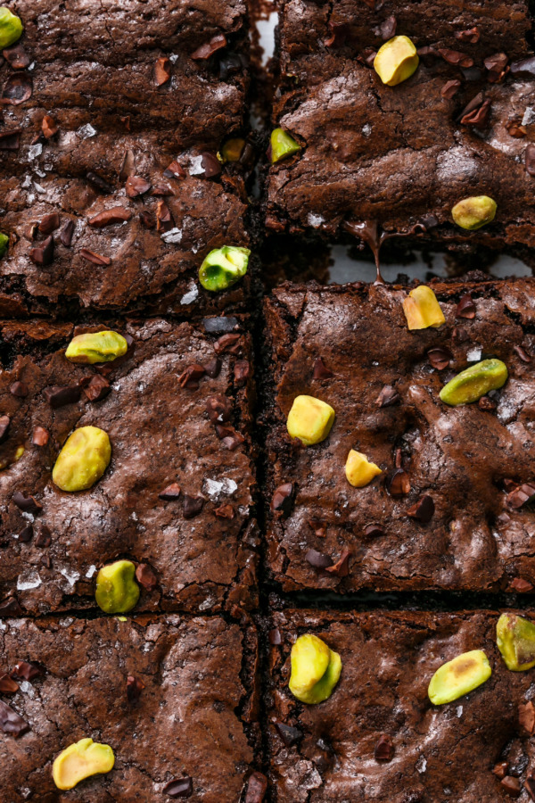 Fudgy Olive Oil & Pistachio Brownies Recipe