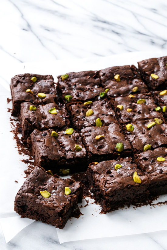 Olive Oil & Pistachio Brownies with Cocoa Nibs and Sea Salt