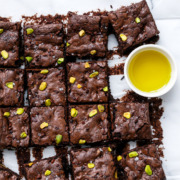 Olive Oil & Pistachio Brownies with Cocao Nibs and Sea Salt