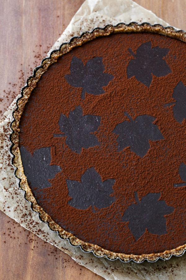 Bittersweet Chocolate Pumpkin Tart with Spiced Pecan Crust