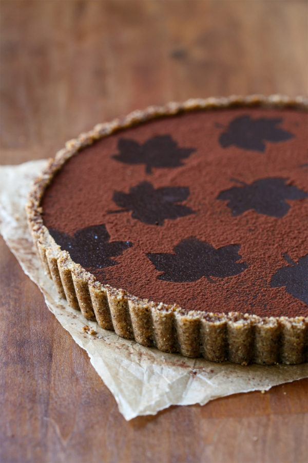 Bittersweet Chocolate Pumpkin Tart with Spiced Pecan Crust