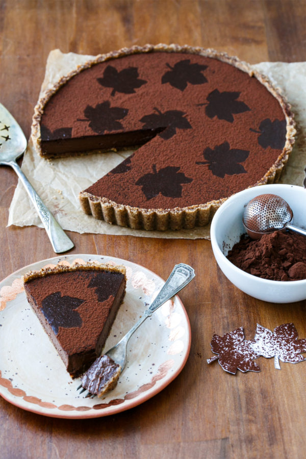 Dark Chocolate Pumpkin Tart with Spiced Pecan Crust