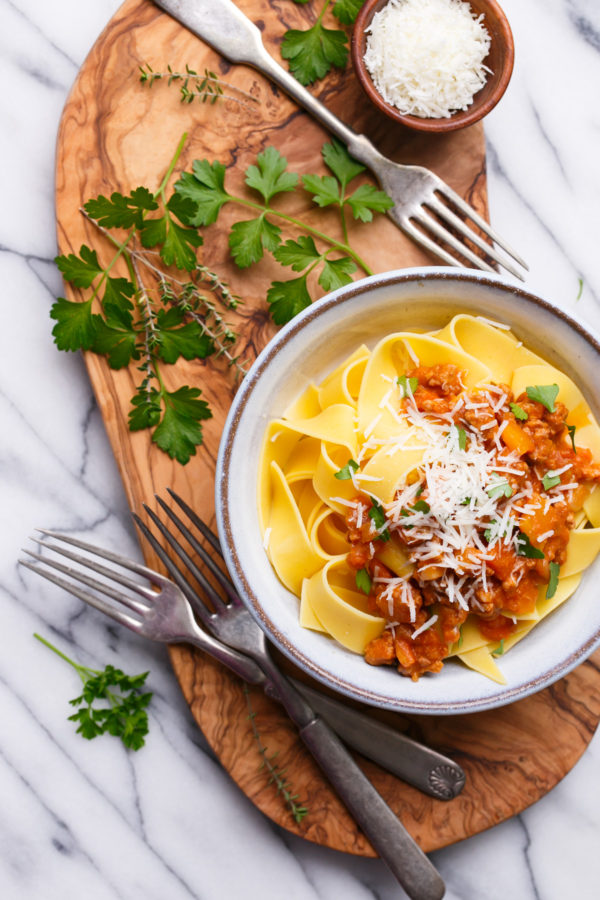 Pumpkin Bolognese with Pappardelle Pasta