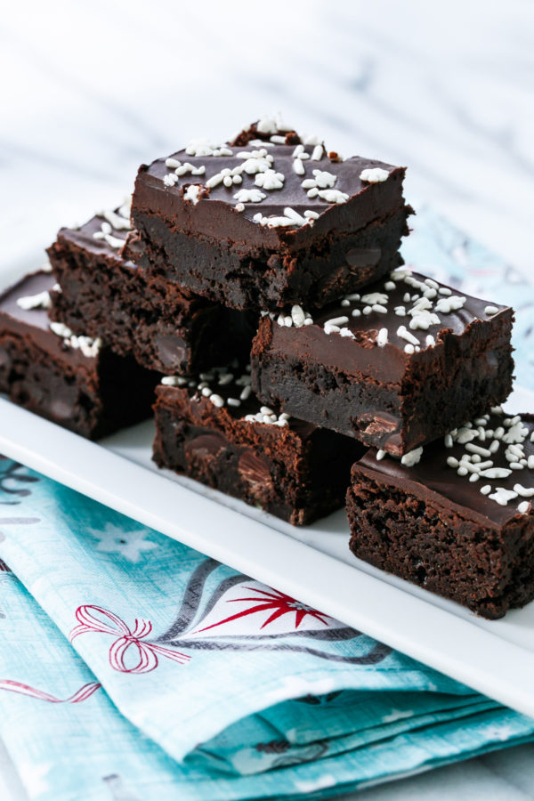 Fudgy Gingerbread Brownies with Chocolate Glaze