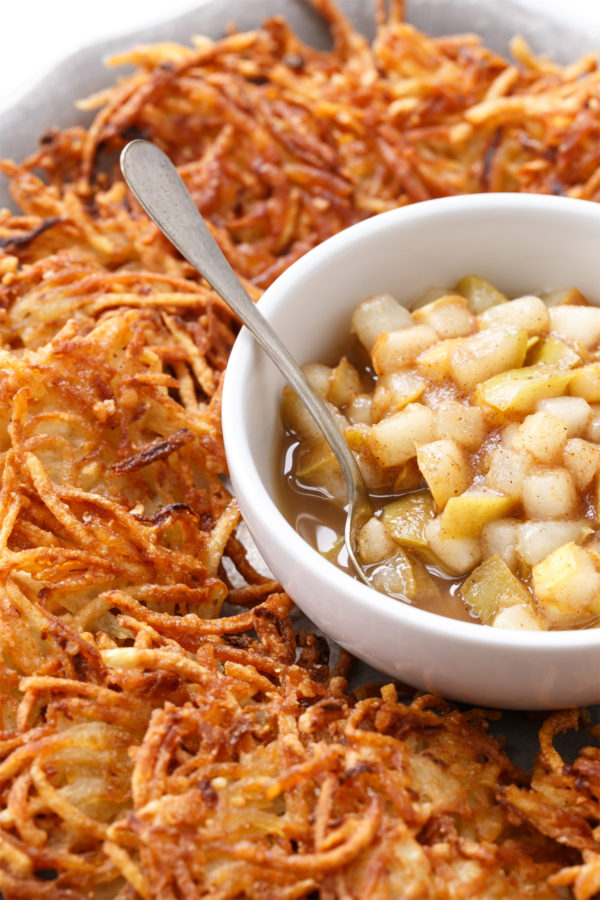 Crispy Potato Latkes with Spiced Pear Compote