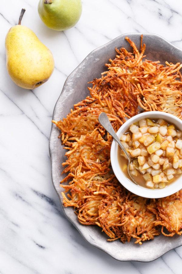 Crispy Potato Latkes with Spiced Pear Compote