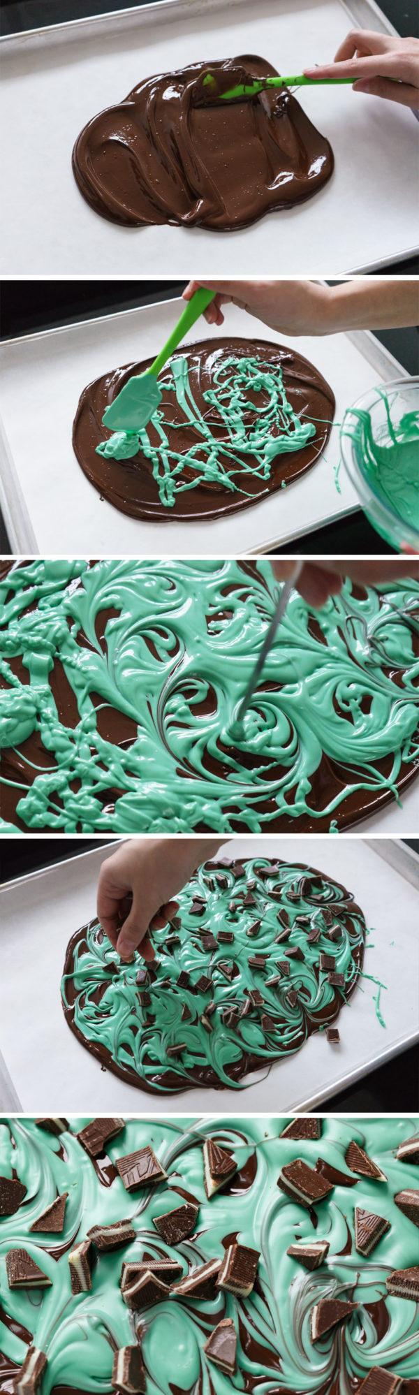 Easy 3-Ingredient Mint Chocolate Swirl Bark