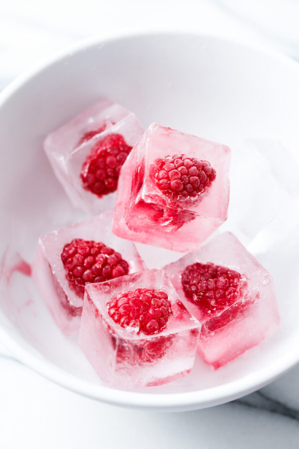 Make raspberry ice cubes for festive holiday cocktails