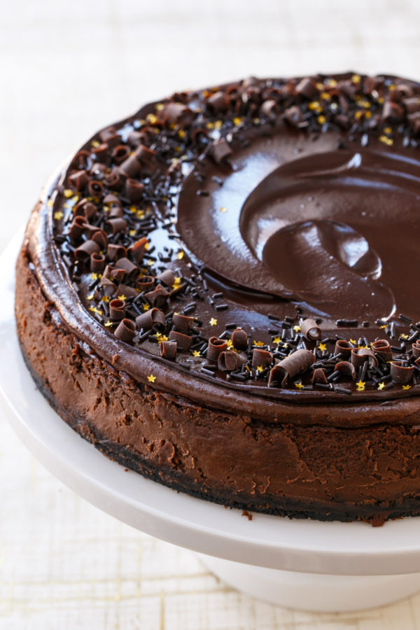 Triple Chocolate Cheesecake Recipe with Chocolate Ganache Glaze