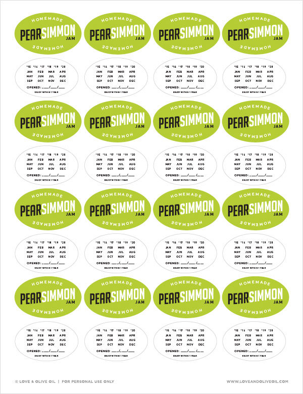 Free Printable Pearsimmon Jam Canning Labels