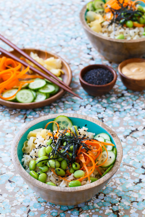 Spicy Veggie Sushi Bowls with Brown Rice and Spicy Mayo Sauce