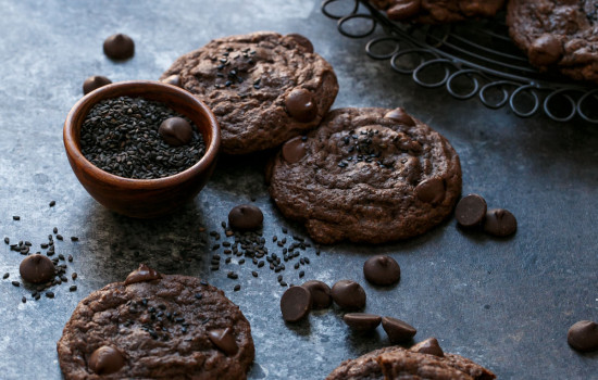 ouble Chocolate Black Sesame Chip Cookies