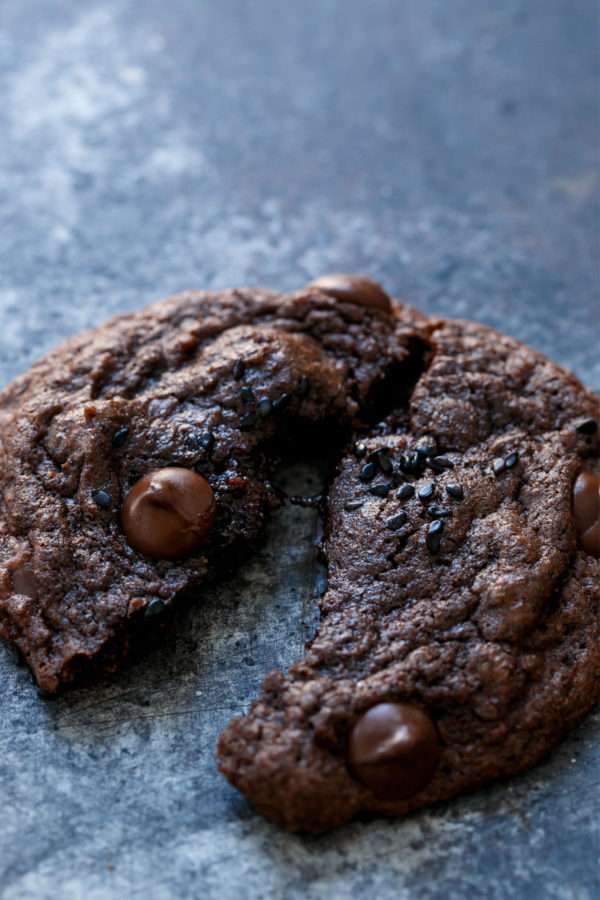 Double Chocolate Black Sesame Chip Cookies
