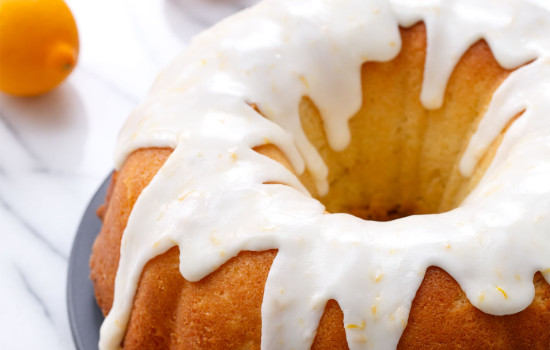 Moist & tender Meyer Lemon Bundt Cake, made with Greek Yogurt