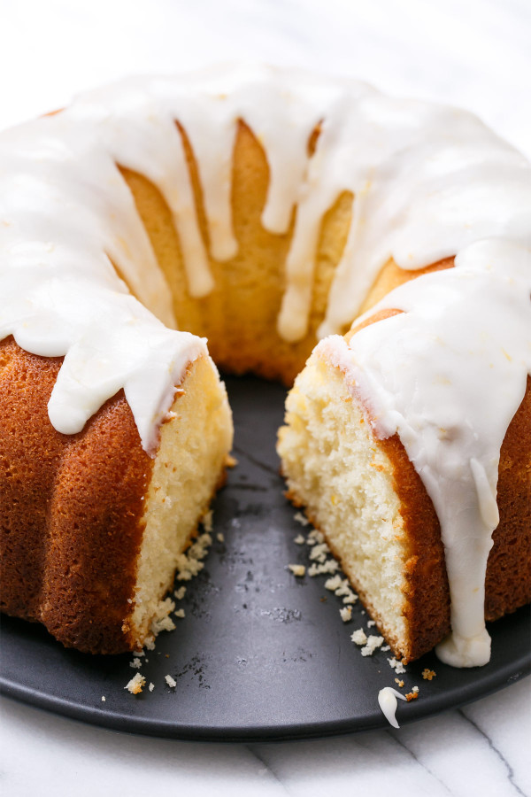 Moist & tender Meyer Lemon Bundt Cake recipe, made with Greek Yogurt