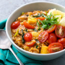 Thai Red Curry Risotto with Chicken, Tomatoes, and Pineapple