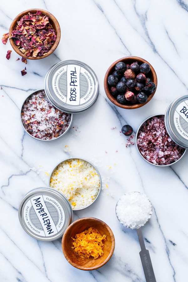 Make Your Own Flavored Finishing Salts - Blueberry, Rose, and Meyer Lemon