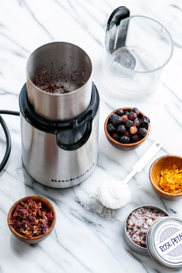 How to make infused sea salt using a simple coffee grinder