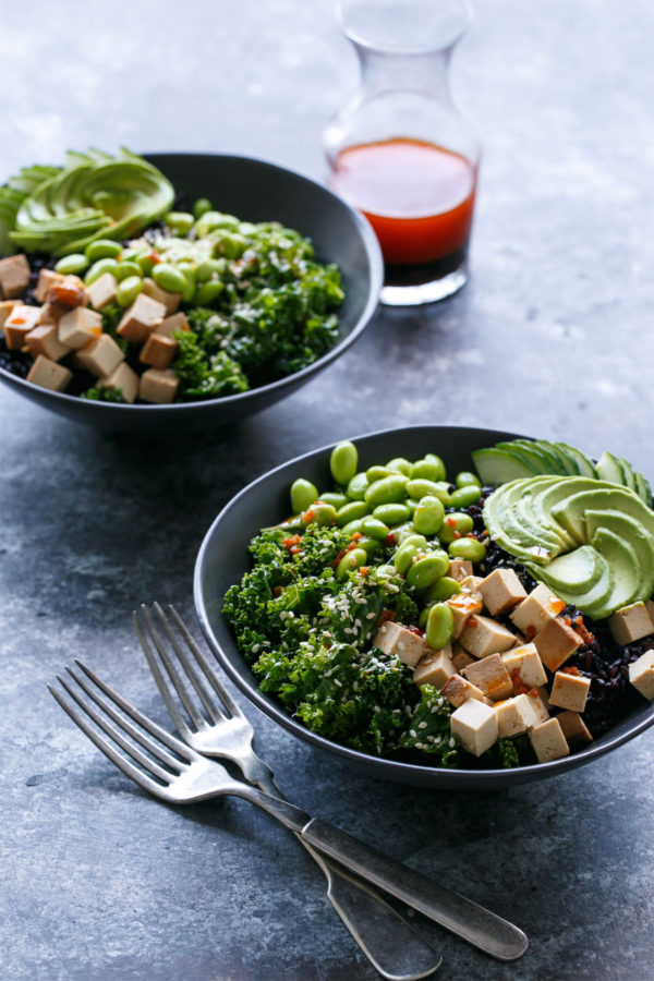 Sesame Sriracha Buddha Bowls with Black Rice and Massaged Kale - a healthy and protein-rich meal
